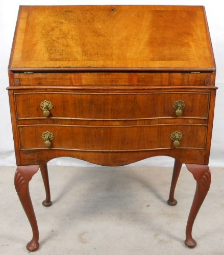 Antique Queen Anne Style Walnut Writing Bureau Desk - SOLD